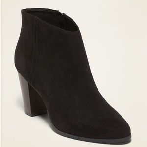 Shoes - Faux-Suede High-Heel Booties